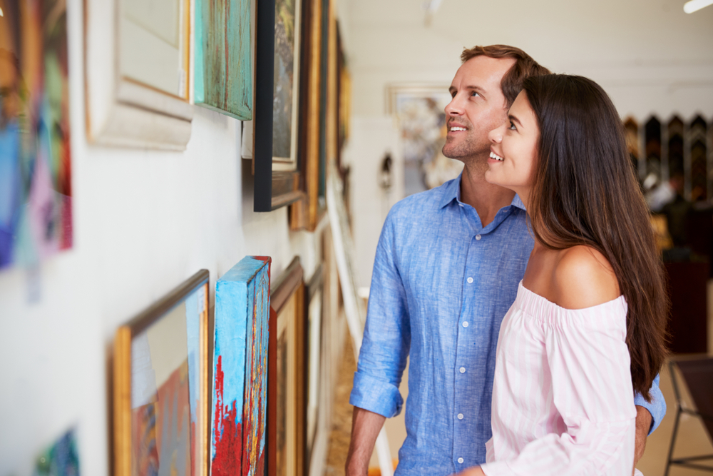 a couple in an art gallery