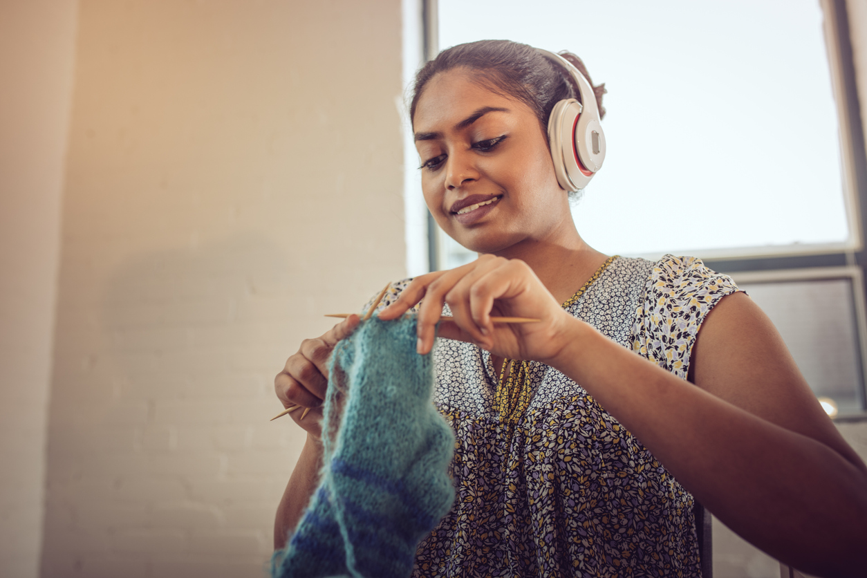 knitting at home with supplies from Baltimore craft stores