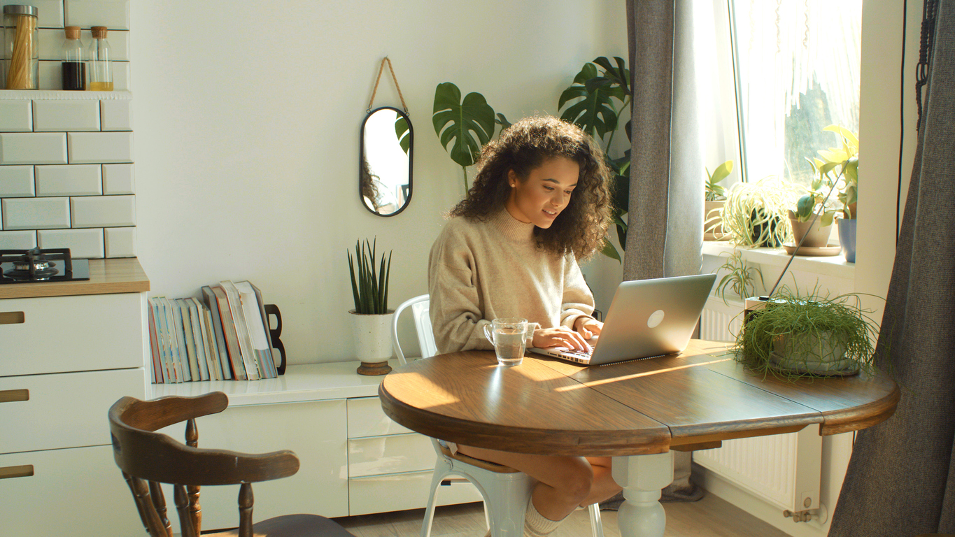 woman looking at Baltimore home decors stores online