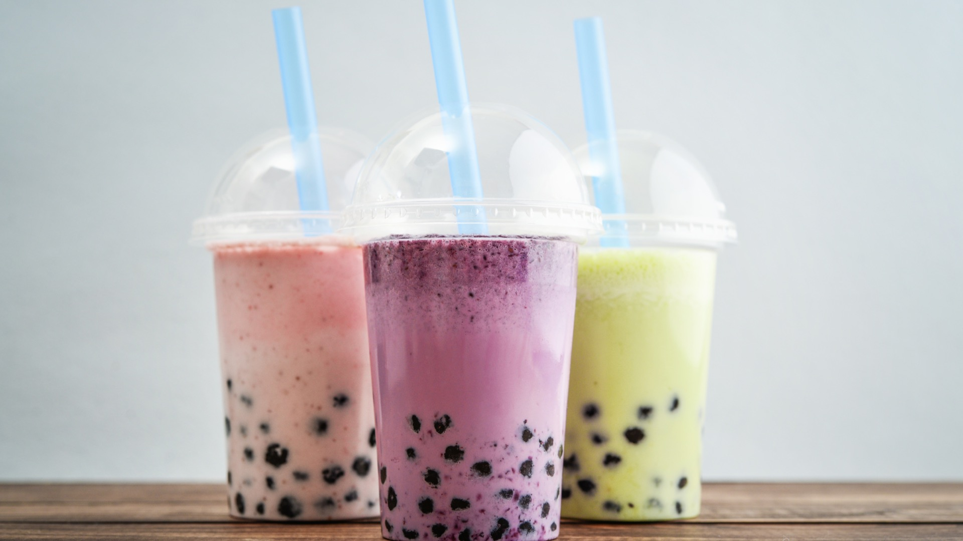 Three to-go cups of bubble tea - best bubble tea in Baltimore