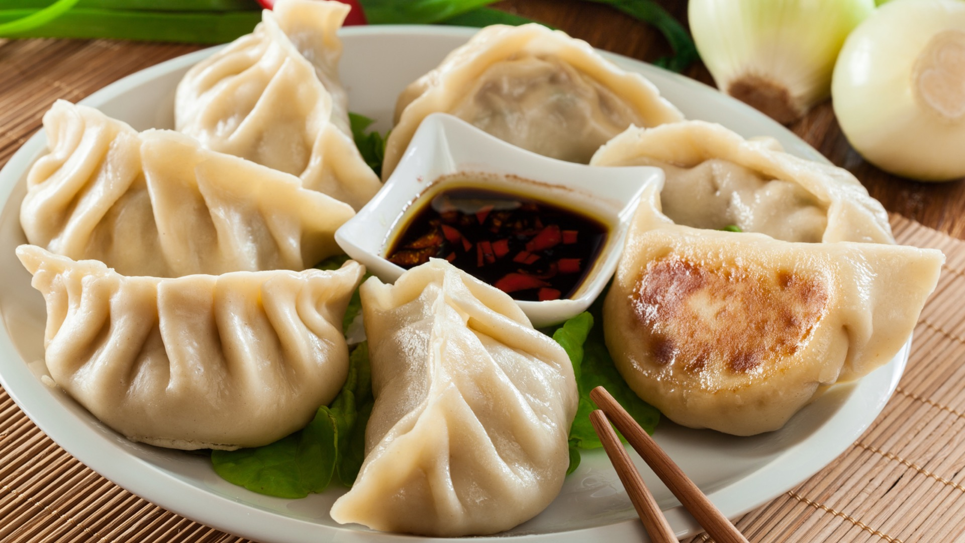 A plate of dumplings and soy sauce | Mount Vernon Marketplace in Baltimore